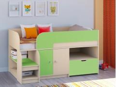 Кровать-чердак Астра 9 V4 Дуб молочный - Салатовый