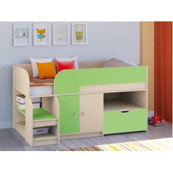 Детская кровать-чердак Астра 9 V4 Дуб молочный - Салатовый