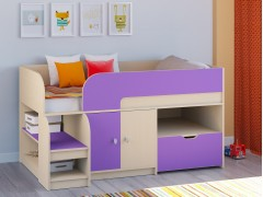 Кровать-чердак Астра 9 V4 Дуб молочный - Фиолетовый