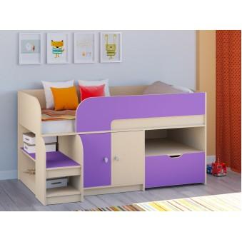 Детская кровать-чердак Астра 9 V4 Дуб молочный - Фиолетовый