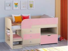 Кровать-чердак Астра 9 V5 Дуб молочный - Розовый