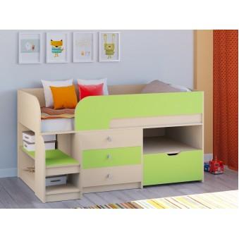 Детская кровать-чердак Астра 9 V5 Дуб молочный - Салатовый