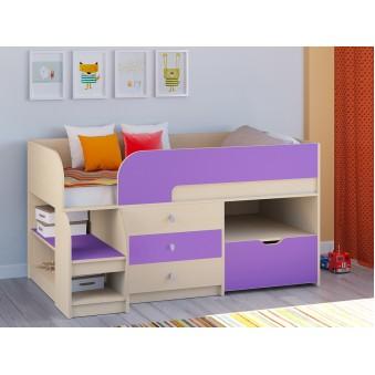Детская кровать-чердак Астра 9 V5 Дуб молочный - Фиолетовый