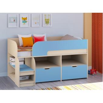 Детская кровать-чердак Астра 9 V6 Дуб молочный - Голубой