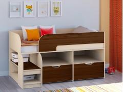 Кровать-чердак Астра 9 V6 Дуб молочный - Орех