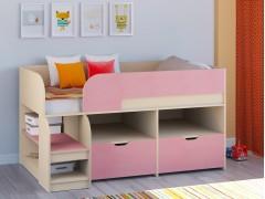 Кровать-чердак Астра 9 V6 Дуб молочный - Розовый