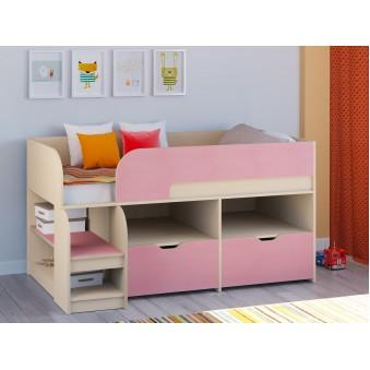 Детская кровать-чердак Астра 9 V6 Дуб молочный - Розовый
