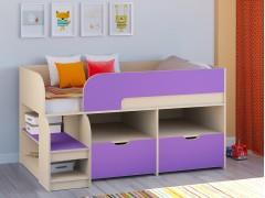 Кровать-чердак Астра 9 V6 Дуб молочный - Фиолетовый