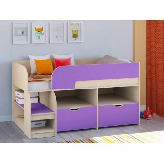 Детская кровать-чердак Астра 9 V6 Дуб молочный - Фиолетовый