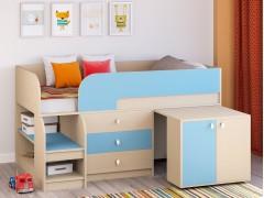 Кровать-чердак Астра 9 V7 Дуб молочный/Голубой