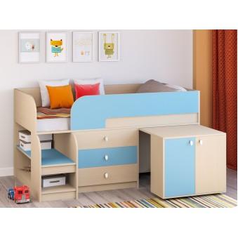 Детская кровать-чердак Астра 9 V7 Дуб молочный - Голубой