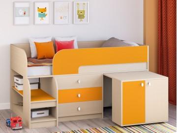 Детская кровать-чердак Астра 9 V7 Дуб молочный - Оранжевый