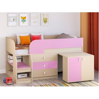 Детская кровать-чердак Астра 9 V7 Дуб молочный - Розовый
