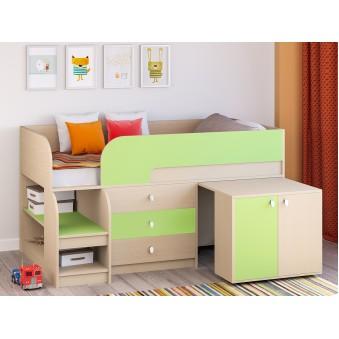 Детская кровать-чердак Астра 9 V7 Дуб молочный - Салатовый