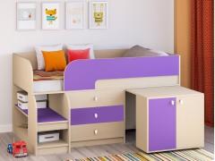 Кровать-чердак Астра 9 V7 Дуб молочный - Фиолетовый