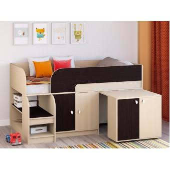 Детская кровать-чердак Астра 9 V8 Дуб молочный/Венге
