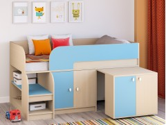 Кровать-чердак Астра 9 V8 Дуб молочный/Голубой