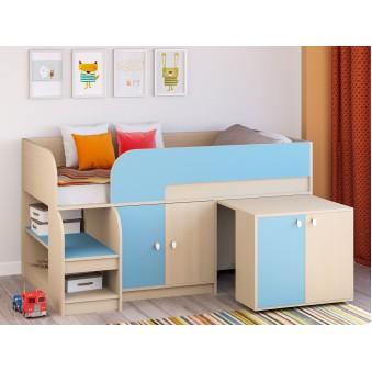 Детская кровать-чердак Астра 9 V8 Дуб молочный/Голубой