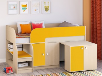 Детская кровать-чердак Астра 9 V8 Дуб молочный - Оранжевый