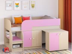 Кровать-чердак Астра 9 V8 Дуб молочный/Розовый