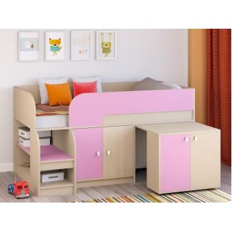 Детская кровать-чердак Астра 9 V8 Дуб молочный/Розовый