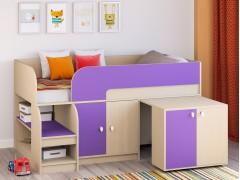 Кровать-чердак Астра 9 V8 Дуб молочный/Фиолетовый