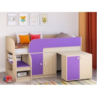 Детская кровать-чердак Астра 9 V8 Дуб молочный/Фиолетовый