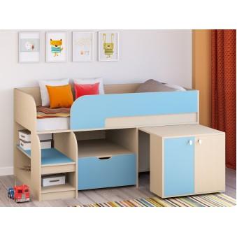 Детская кровать-чердак Астра 9 V9 Дуб молочный/Голубой
