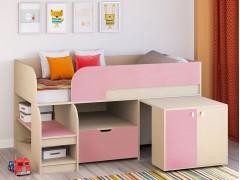 Кровать-чердак Астра 9 V9 Дуб молочный - Розовый