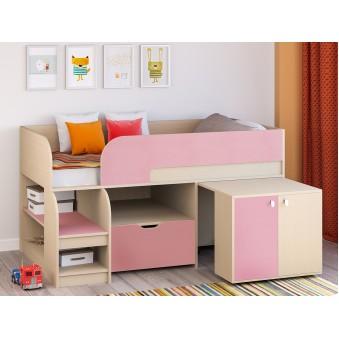 Детская кровать-чердак Астра 9 V9 Дуб молочный - Розовый