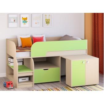 Детская кровать-чердак Астра 9 V9 Дуб молочный - Салатовый