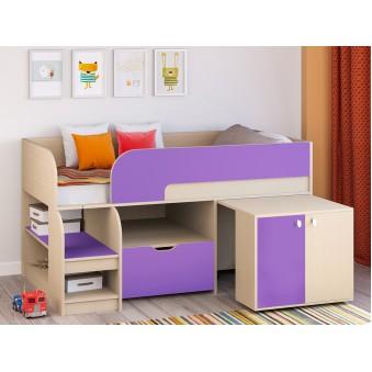 Детская кровать-чердак Астра 9 V9 Дуб молочный - Фиолетовый