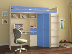 Кровать-чердак Астра Дуб молочный - Голубой