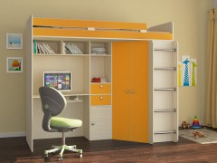 Кровать-чердак Астра Дуб молочный - Оранжевый