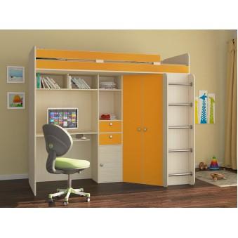 Детская кровать-чердак Астра Дуб молочный - Оранжевый