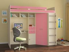 Кровать-чердак Астра Дуб молочный - Розовый