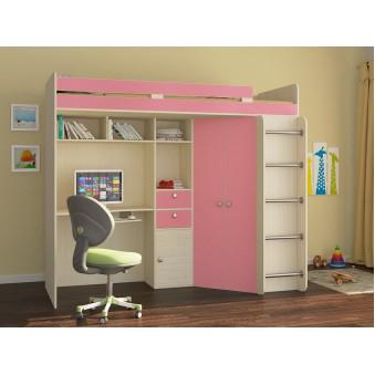 Детская кровать-чердак Астра Дуб молочный - Розовый