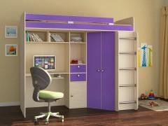 Кровать-чердак Астра Дуб молочный - Фиолетовый