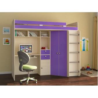 Детская кровать-чердак Астра Дуб молочный - Фиолетовый
