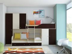 Двухъярусная кровать Лео Дуб молочный - Венге