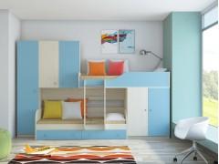 Двухъярусная кровать Лео Дуб молочный - Голубой