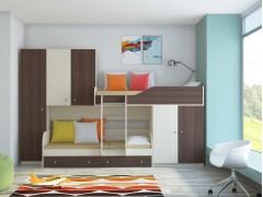 Двухъярусная кровать Лео Дуб молочный - Дуб шамони