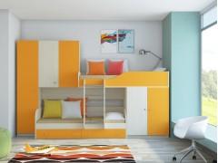 Двухъярусная кровать Лео Дуб молочный - Оранжевый