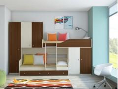 Двухъярусная кровать Лео Дуб молочный - Орех