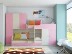 Двухъярусная кровать Лео Дуб молочный - Розовый