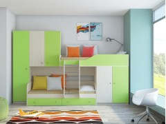 Двухъярусная кровать Лео Дуб молочный - Салатовый