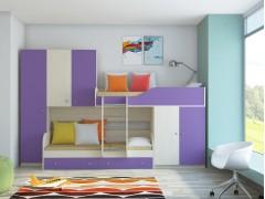 Двухъярусная кровать Лео Дуб молочный - Фиолетовый