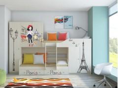 Двухъярусная кровать Лео Дуб молочный Париж