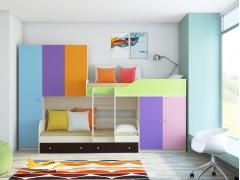 Двухъярусная кровать Лео Дуб молочный - Разноцветный