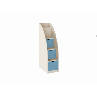 Лестница-комод Дуб молочный/Голубой